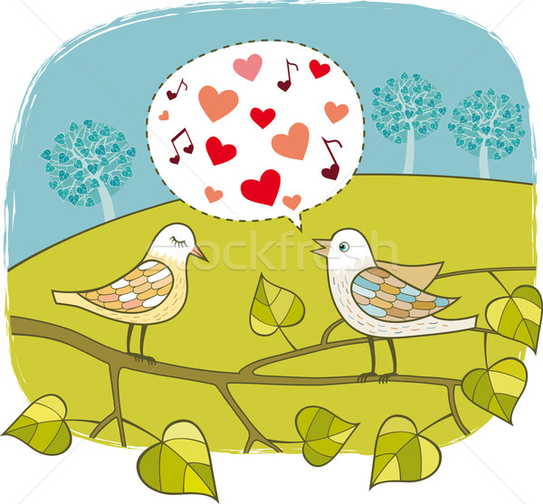 Stock photo: Birds in love