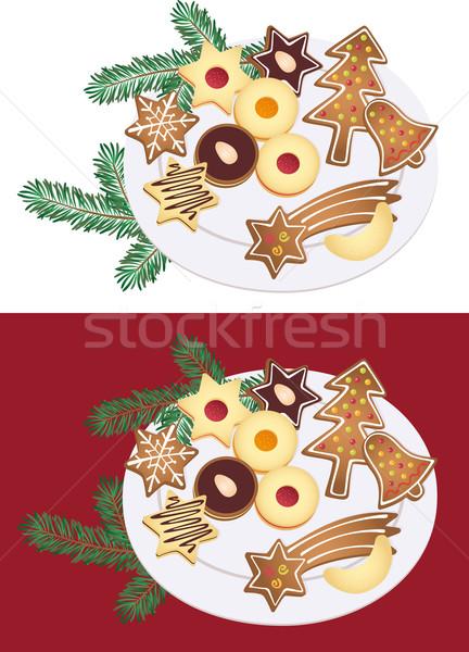 Natal bolinhos branco prato chocolate bolo Foto stock © MyosotisRock