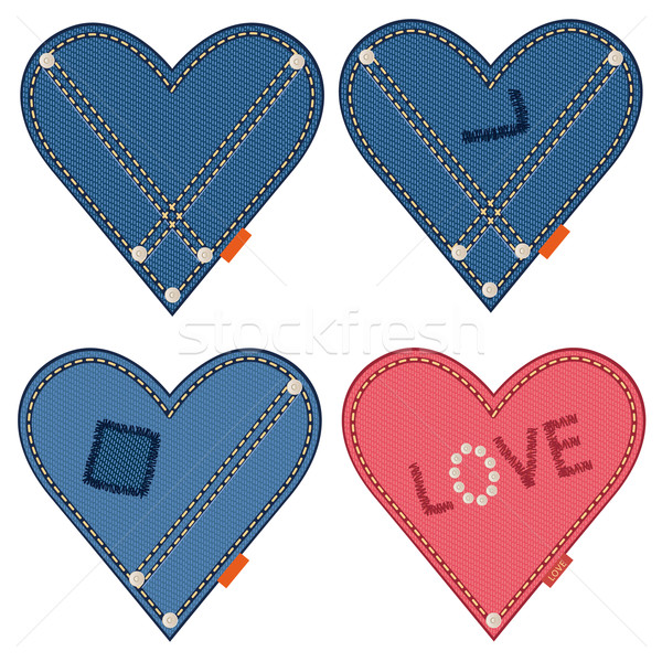 Stock photo: Denim hearts