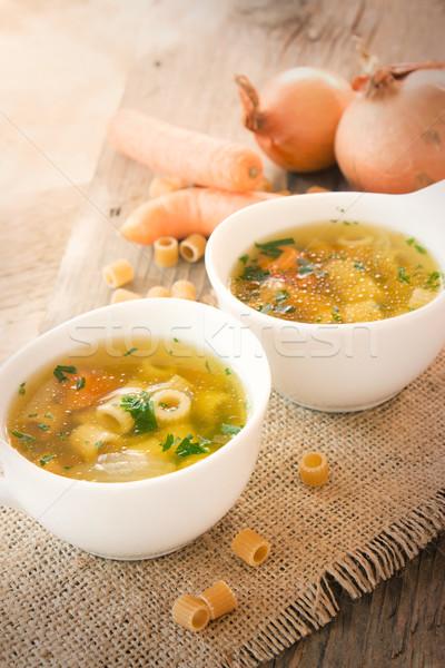 Soupe aux légumes pâtes garnir alimentaire fond vert Photo stock © mythja