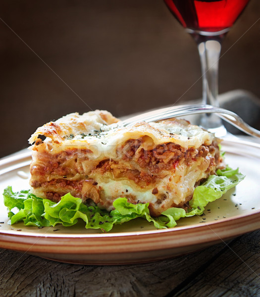 新鮮な 自家製 ラザニア イタリア料理 ストックフォト © mythja