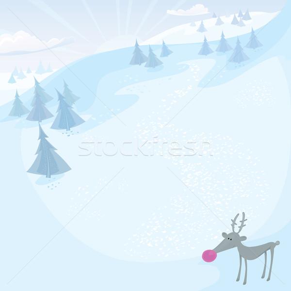 Vector Christmas card with Rudolph Stock photo © mythja
