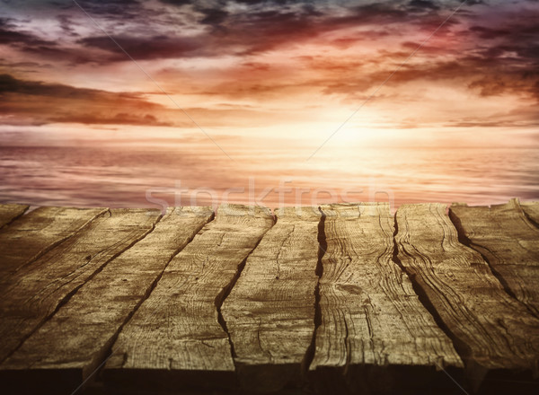 Woode tabletop with sunset Stock photo © mythja