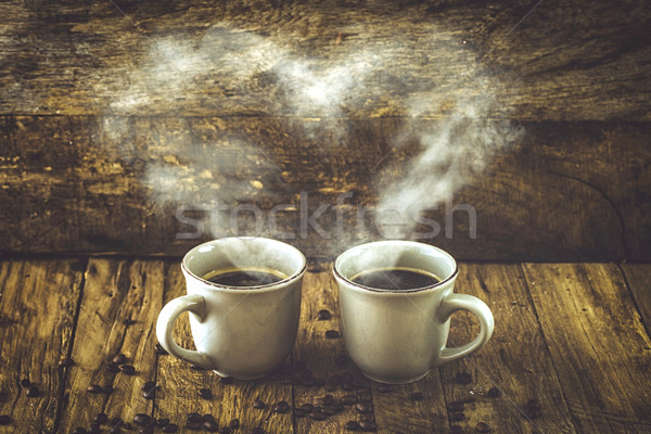 Stock photo: Coffee on wood