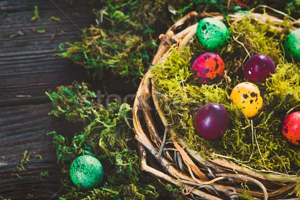 イースター 木材 描いた 卵 表 イースターエッグ ストックフォト © mythja
