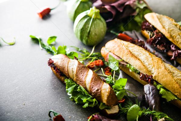 Kanapkę warzyw fast food żywności tle klub Zdjęcia stock © mythja
