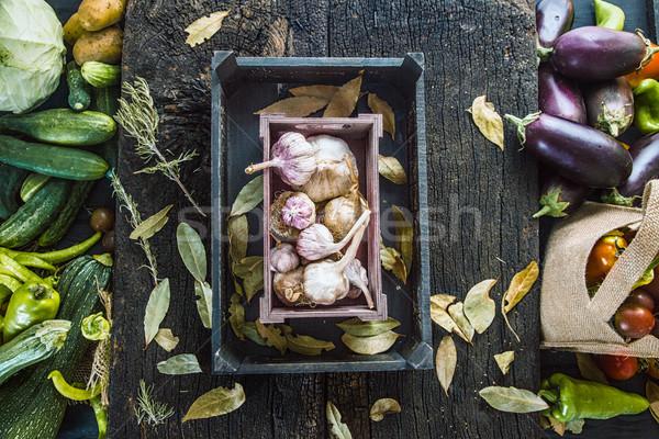 Sebze ahşap organik rustik taze gıda sağlıklı Stok fotoğraf © mythja