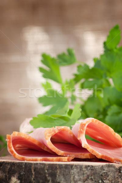 Fresche prosciutto carne di maiale guarnire legno Pasqua Foto d'archivio © mythja
