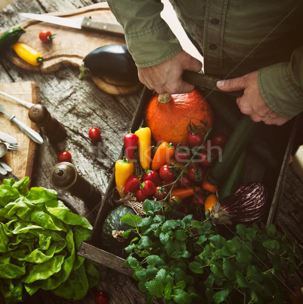 Organic vegetables on wood Stock photo © mythja