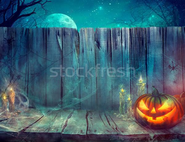 Halloween assustador abóbora tabela projeto Foto stock © mythja