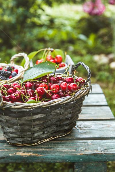 Stock photo: Fresh forest fruit on wood