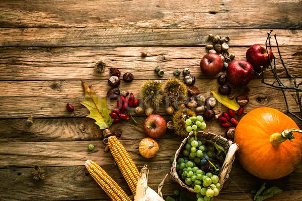 Stok fotoğraf: Sonbahar · meyve · Şükran · Günü · mevsimlik · doğa · ahşap