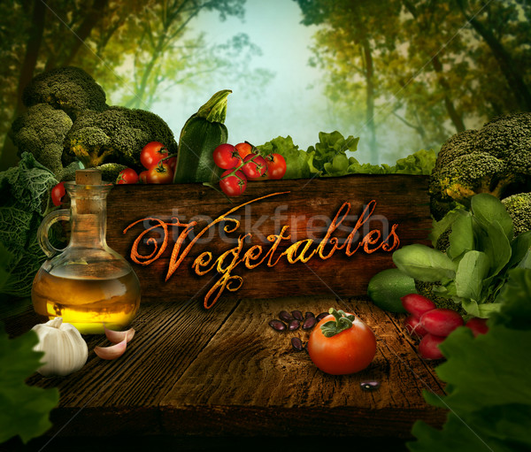 Food design - Fresh vegetables in celery forest Stock photo © mythja