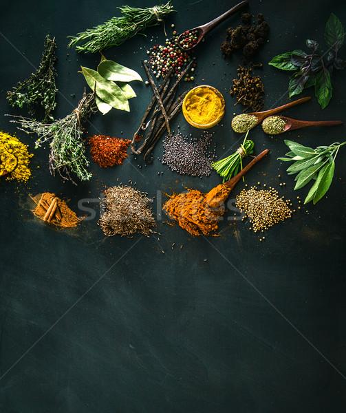 Spezie erbe varietà mediterraneo alimentare sfondo Foto d'archivio © mythja