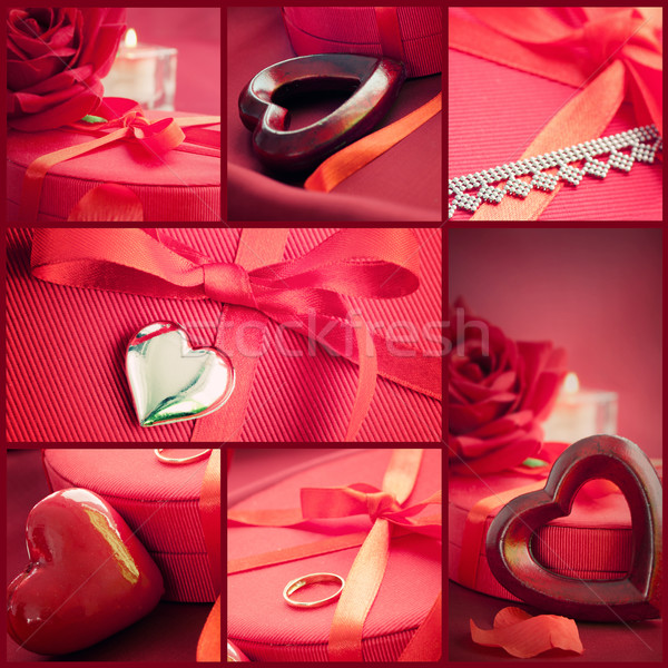 Valentine's day  red collage Stock photo © mythja