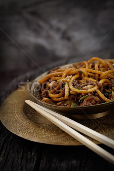 Kínai étel tojás tészta tyúk zöldségek étel Stock fotó © mythja