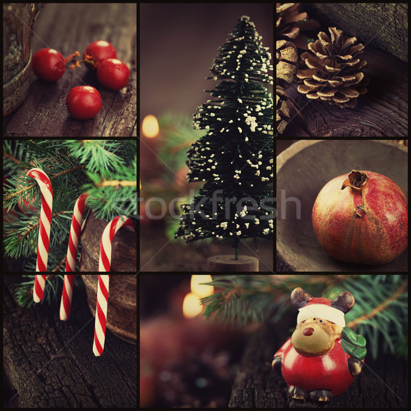 Christmas ornaments collage Stock photo © mythja