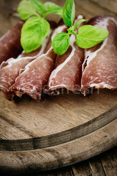 Secas carne de porco salame presunto ervas madeira Foto stock © mythja