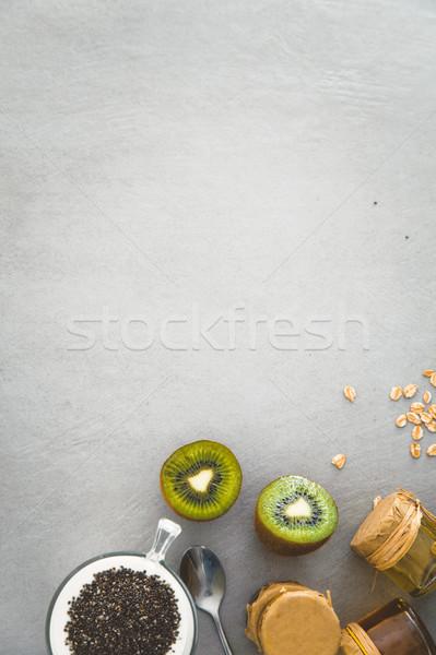 Egészséges reggeli választék gabonafélék gyümölcs joghurt Stock fotó © mythja