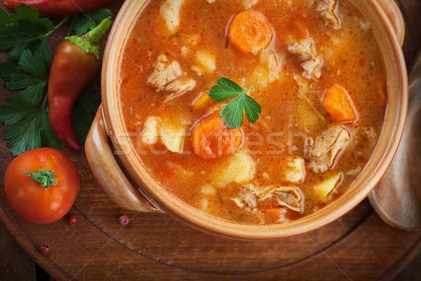 Kalfsvlees stoven heerlijk soep vlees groenten Stockfoto © mythja
