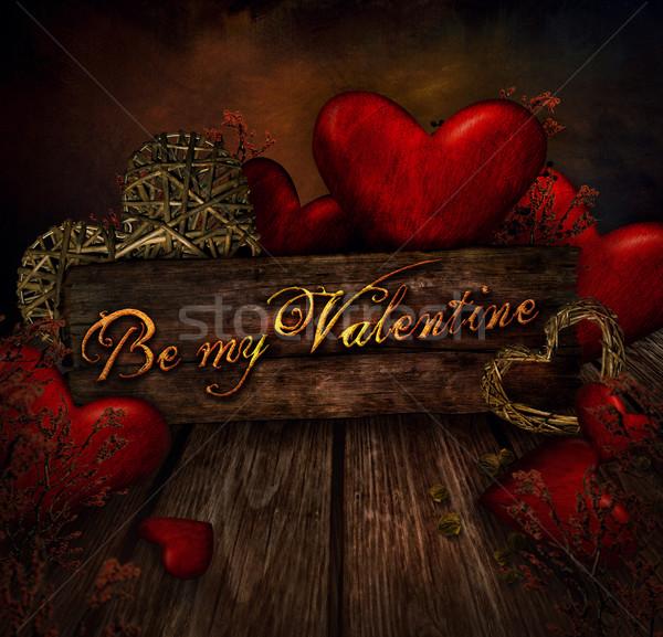 Valentines design - Hearts on wood Stock photo © mythja