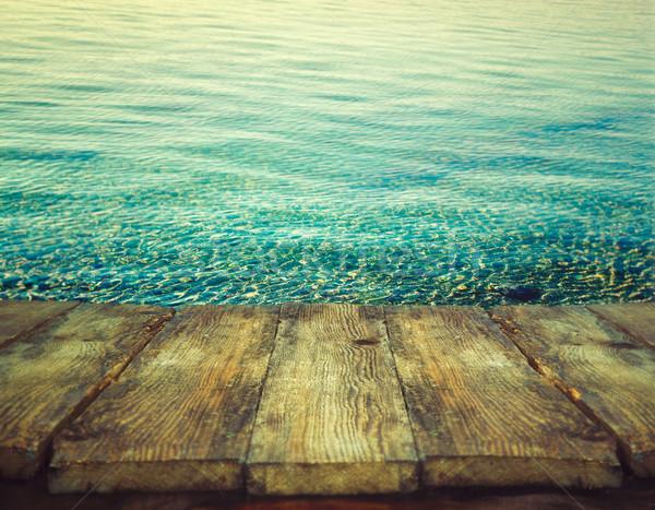 Nyár fa asztal óceán ünnep természet víz Stock fotó © mythja