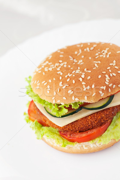 Fried chicken or fish burger sandwich Stock photo © mythja