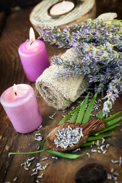Lavendel spa wellness producten water natuur Stockfoto © mythja