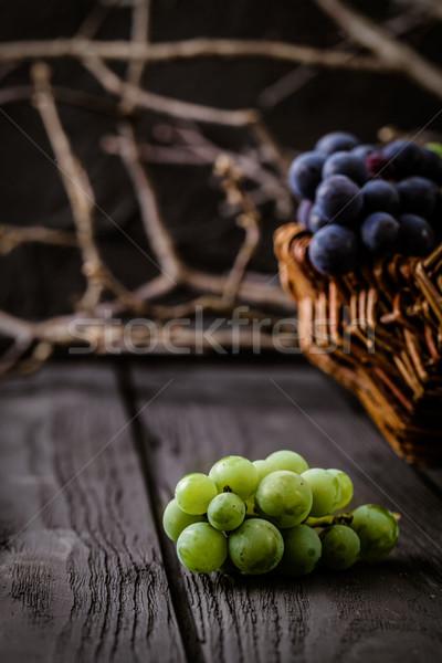 Foto stock: Fresco · uvas · madeira · outono · fruto · vinho