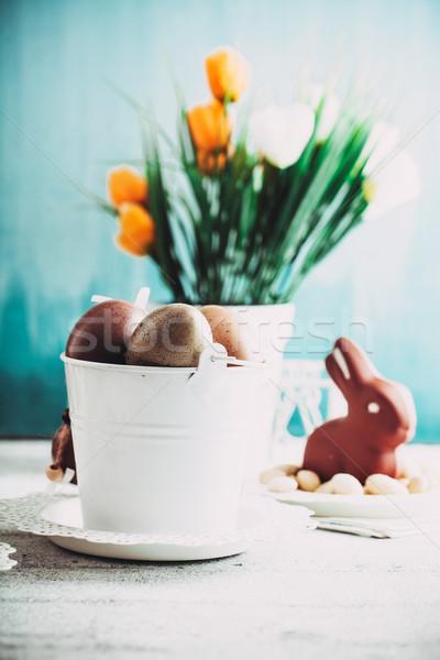 Stockfoto: Pasen · tabel · decoratie · chocolade · eieren · bunny