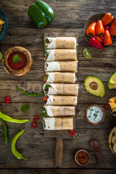 Tortilla wraps with vegetables Stock photo © mythja