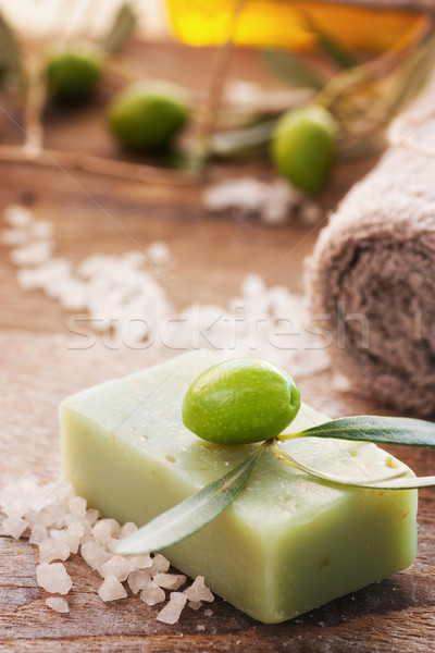 Stock photo: Natural spa setting with olive oil.