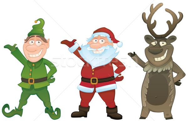 Vector set with Santa, Elf and Rudolph Stock photo © mythja
