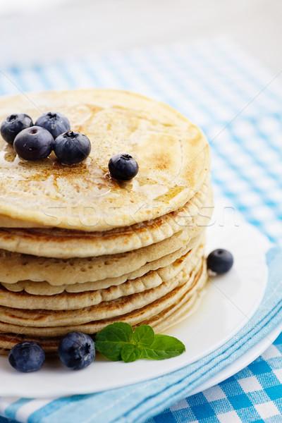 Stockfoto: Pannenkoeken · honing · ontbijt · voedsel · bosbessen · hout