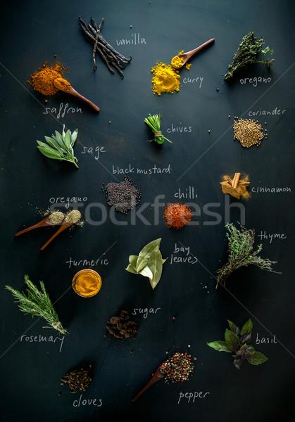 Foto stock: Temperos · ervas · variedade · mediterrânico · fundo · cozinhar