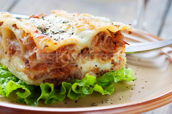 Fresh homemade lasagna Stock photo © mythja