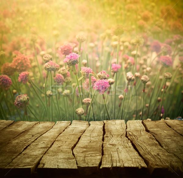 Virág tavasz virágok fa asztal húsvét fű Stock fotó © mythja