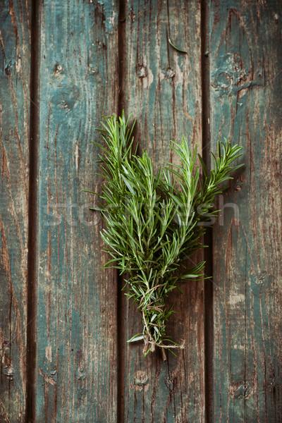 Stockfoto: Vers · kruiden · rosmarijn · rustiek · tuin · voorjaar