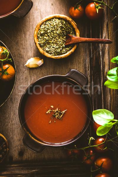 Sopa de tomate casero tomates hierbas especias comodidad Foto stock © mythja