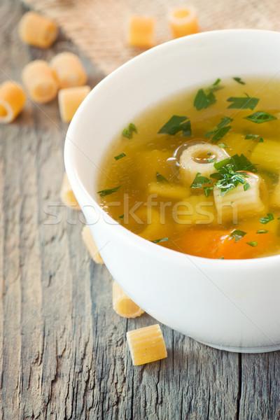 Zupa jarzynowa makaronu dekorować żywności zielone obiedzie Zdjęcia stock © mythja