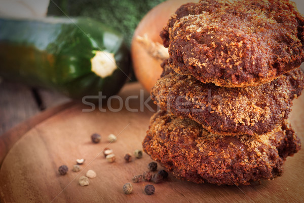 Minced meat steaks Stock photo © mythja