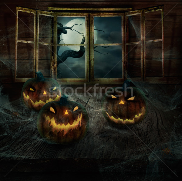 Halloween Design - Abandoned pumpkins Stock photo © mythja