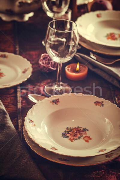 Tabel tafel diner elegante plaats bloem Stockfoto © mythja