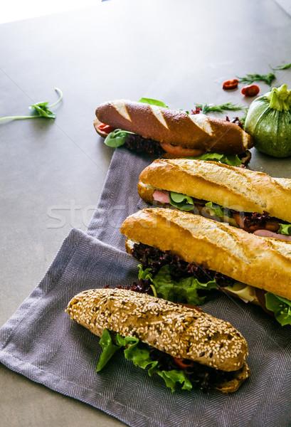 Deli sandwich with vegetables Stock photo © mythja