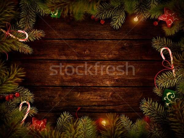 Crăciun proiect frontieră card fundal lemn Imagine de stoc © mythja