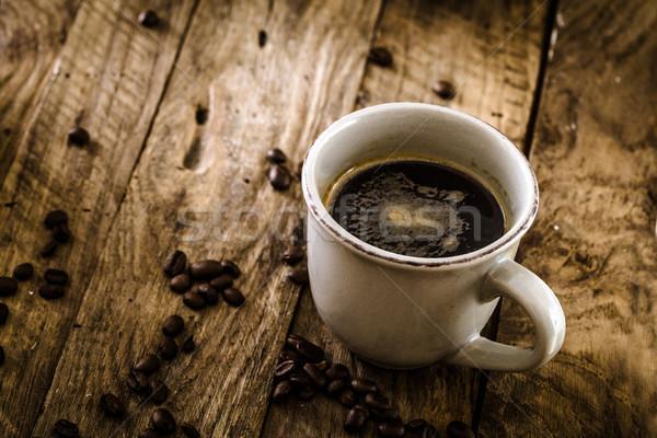 Coffee on wood Stock photo © mythja