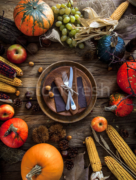 Thanksgiving dinner setting. Autumn dinner table Stock photo © mythja