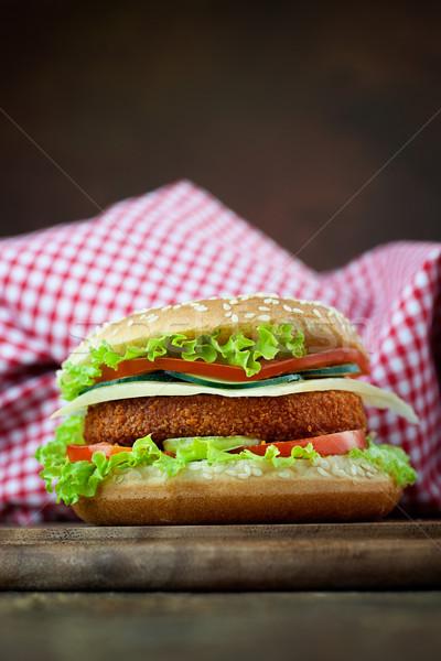 Stock fotó: Sültcsirke · hal · hamburger · szendvics · egészségtelen · étel · mély
