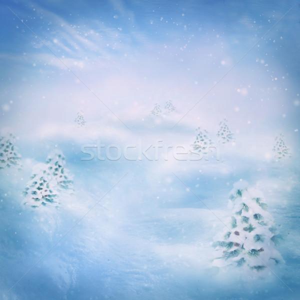 Nieve montana invierno pino forestales colinas Foto stock © mythja