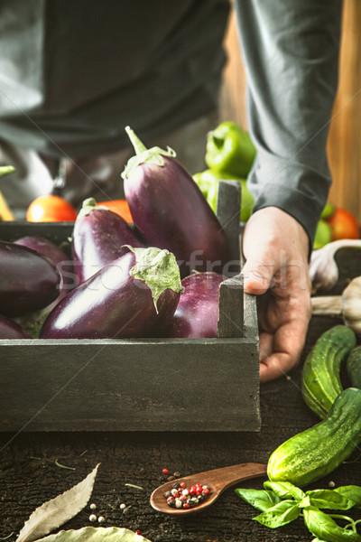 Gazda padlizsán organikus zöldségek gazdák kezek Stock fotó © mythja